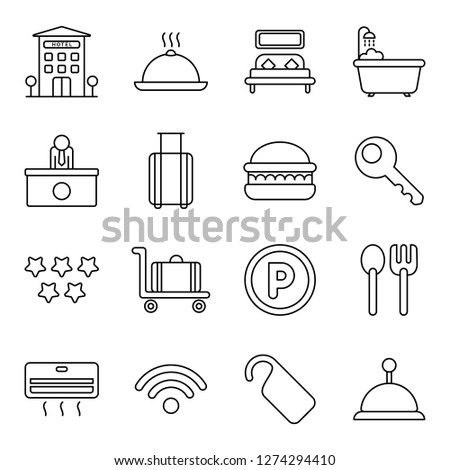 Hotel icons pack. Isolated hotel symbols collection. Graphic icons element #1274294410