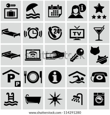 Hotel icons set - stock vector