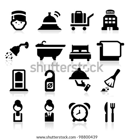 Hotel Icons set elegant series