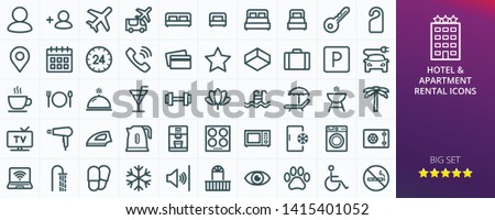 Hotel icons set for website. Set of apartment rental service - inn, hostel, inn, guest house, transfer, travel, rent apartments isolated vector icons