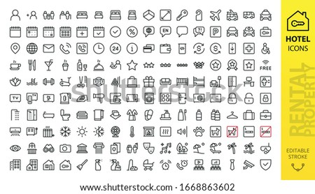 Hotel icons set. Rental property isolated icons. Set of apartment reservation, hotel booking, rent hostel room, airport transfer, room area, flat rent, five-star hotel, service line vector web icon