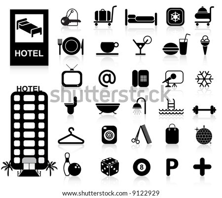 Hotel Icons set - Vector. Easy change colors. - stock vector