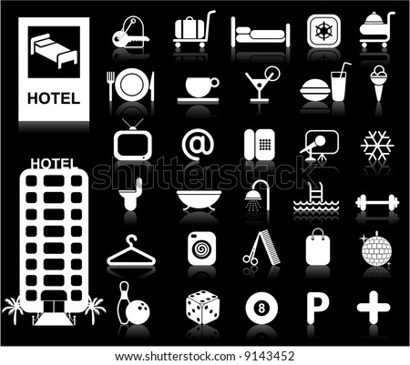 Hotel Icons set - Vector. White series / Easy change colors.