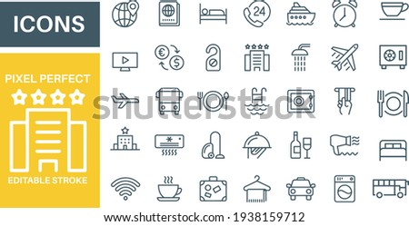 Hotel Icons vector design outline on white background