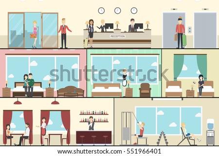 hotel indoors interior set