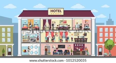 Hotel interior set inside building on hthe street.