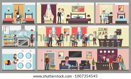 hotel interior set people and