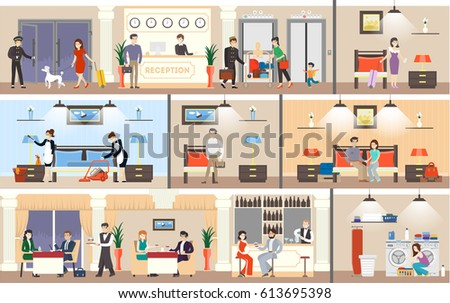 Hotel interior set. Reception and rooms, restaurant and laundry.
