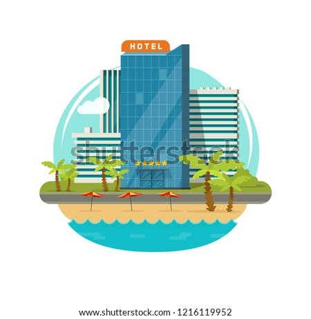 Hotel isolated near sea or seafront resort view vector illustration, flat cartoon modern eco hotel building on green grass, beach and promenade or street