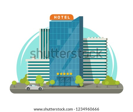 Hotel isolated on city street vector illustration, flat cartoon modern skyscraper hotel building near road