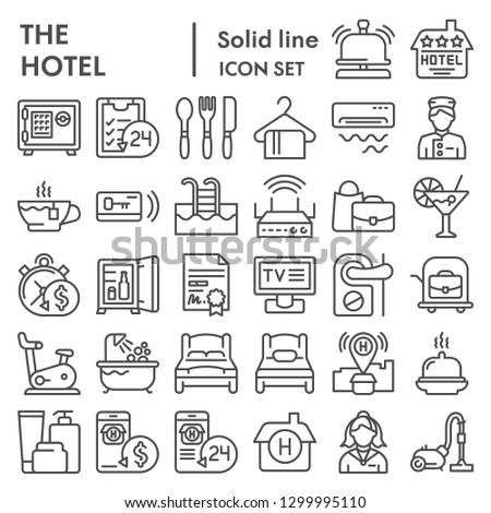 Hotel line icon set, service symbols collection, vector sketches, logo illustrations, hostel signs linear pictograms package isolated on white background, eps 10