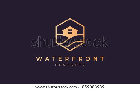 hotel logo with a hexagon base shape with ocean wave and window Stock photo ©