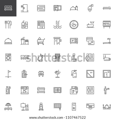Hotel outline icons set. linear style symbols collection, line signs pack. vector graphics. Set includes icons as Double Bed Room, Towels, Mini bar, Room Service, Customer service, Bell Reception
