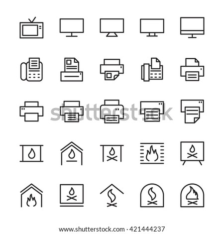 hotel outline vector icons 4