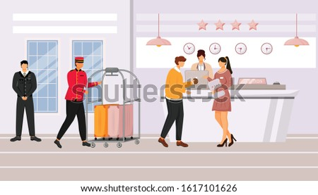 Hotel reception flat vector illustration. Guest talking with resort manager in lobby. Registration, waiting area. Bellman carrying baggage cart with suitcases. Staff cartoon characters