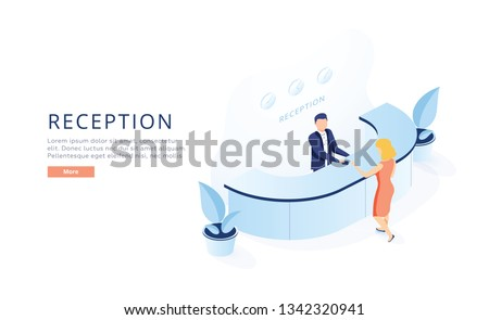 Hotel Reception Isometric Vector. Hotel Receptionist at Counter Welcoming Newly Arrived Guest with Luggage, Giving Room Key to Client Illustration. Modern Hotel Services, Women Job Opportunity Concept