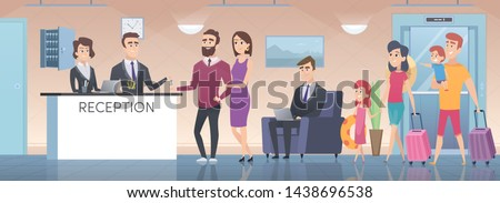 Hotel reception. Modern interior of guest room big hall with lounge zone lobby in hotel vector cartoon illustration. Lobby interior, receptionist service in hotel