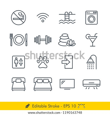 Hotel Related Signs Icons / Vectors Set - In Line / Stroke Design | Contains Such no smoking, wifi, swimming pool, laundry, restaurant, spa, bar, elevator, bed, exit, shower, fitness center, tv more