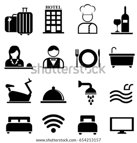 Hotel, resort and hospitality web icon set
