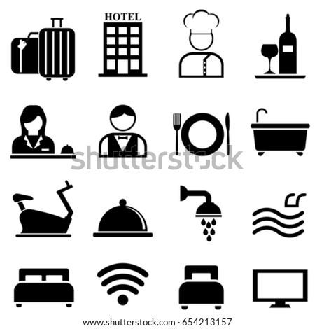 Hotel, resort and hospitality web icon set