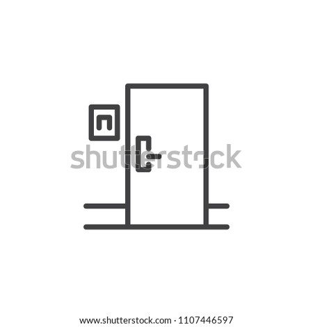 Hotel room door outline icon. linear style sign for mobile concept and web design. Closed door simple line vector icon. Symbol, logo illustration. Pixel perfect vector graphics