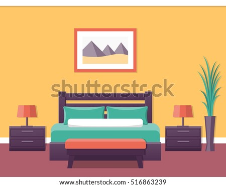 Hotel room flat interior. Bedroom house design with bed. Vector illustration with furniture. Home background