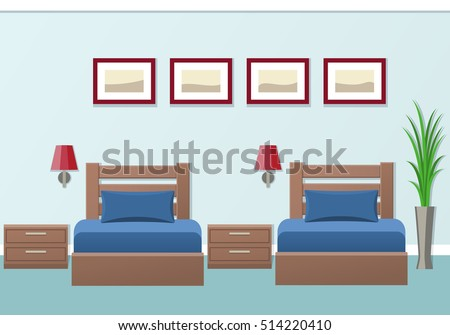Hotel room interior with two beds in flat style. Modern bedroom design. Vector illustration.