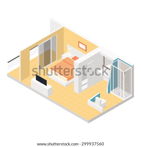 hotel room isometric detailed