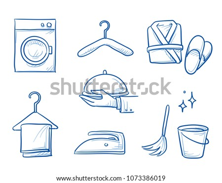 Hotel room service icon set, with laundry, washing mashine, iron, coat hanger, bathrobe, catering service, cleaning bucket. Hand drawn line art cartoon vector illustration.