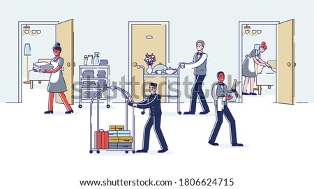 Hotel room service working: maids cleaning rooms, porter carrying visitors luggage, waiters bringing dinner to visitors. Hotel corridor with cartoon employees. Linear vector illustration Сток-фото ©