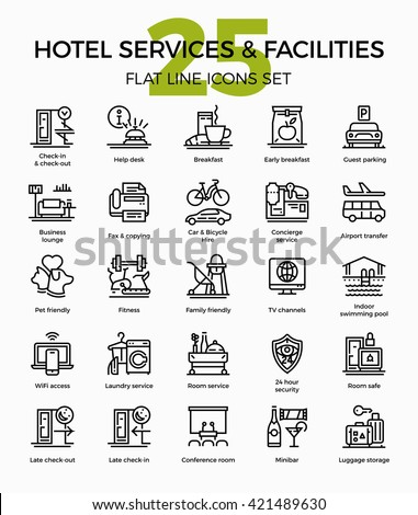 Hotel services and facilities premium quality flat line vector icons set. Accommodation features outline symbols collection. Linear pictograms bundle on check-in, breakfast, concierge, laundry, etc.