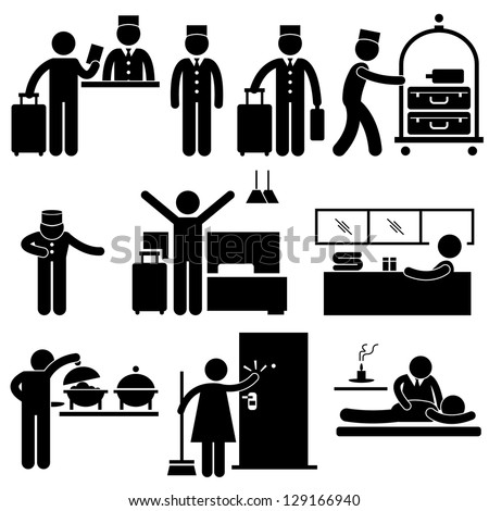Hotel Services Receptionist Bellboy Housekeeper Worker Customer Visitor Stick Figure Pictogram Icon 129166940