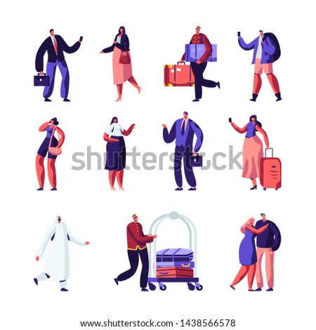 Hotel Staff and Guests Set. Businessman, Receptionist, Clerk Meeting Lodgers, Arabic European Clients, Doorman with Cart for Baggage, People Accommodation in Motel, Cartoon Flat Vector Illustration