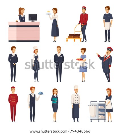 Hotel staff cartoon set of isolated icons representing bellboy maid doorman receptionist bellman chef concierge waiter vector illustration