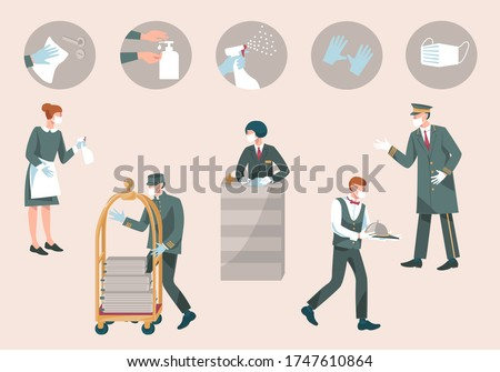 Hotel  staff with mask and gloves-receptionist, valet, waiter, doorman, maid. Prevention measures during coronavirus COVID 19-disinfect, wear mask, use sanitiser, gloves.New Normal.Vector