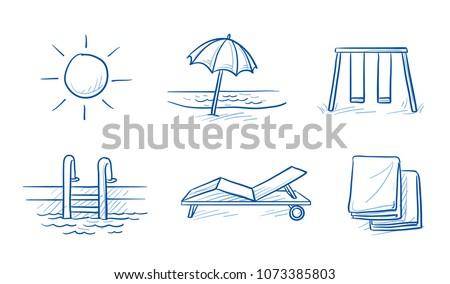 hotel summer vacation icon set