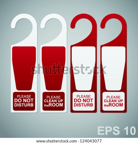 Hotel symbols. Door Hanger Tags for Room in Hotel or Resort - stock vector