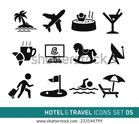 hotel   travel icons set    05