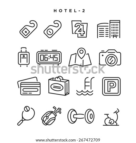 Hotel vector icons Elements for print mobile and web applications