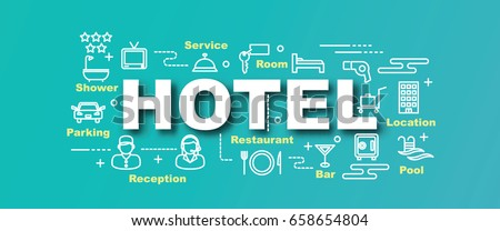 hotel vector trendy banner design concept, modern style with thin line art icons on gradient colors background