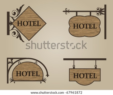 hotel wood sign