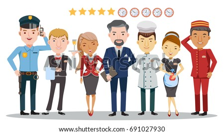 Hotel worker service group Of hotel. Waitress, manager, Housekeeping, Hotel luggage, Receptionist, Chef, Security guard,Character set Team work concept,detailed and unique.Isolated on White background