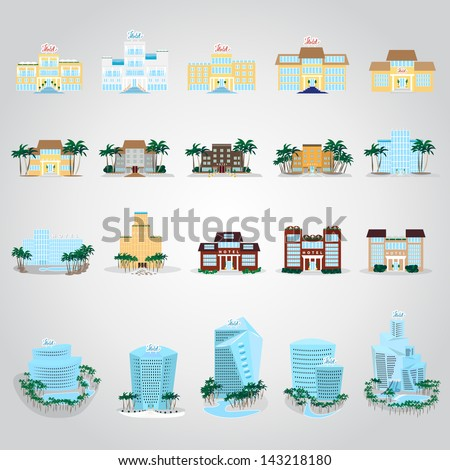 Hotels Icons Set - Isolated On Gray Background - Vector Illustration, Graphic Design Editable For Your Design