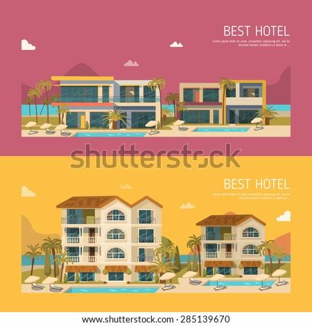hotels set vector illustration