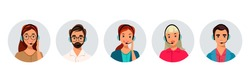 Hotline Call center. Portrait of man, woman at support department. Office workers in headphones with microphone. Operator online help, advises customers, feedback concept. Vector illustration