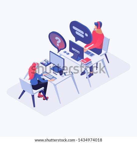 Hotline office workers vector isometric illustration. Call center operators, chat manager in headset at workplace, consultant managers 3d cartoon characters. Email, live support assistance