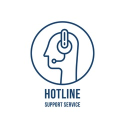 hotline or support service with thin line head. linear stroke logotype graphic lineart design isolated on white. concept of business counselor or virtual assistant or technical receptionist with mic