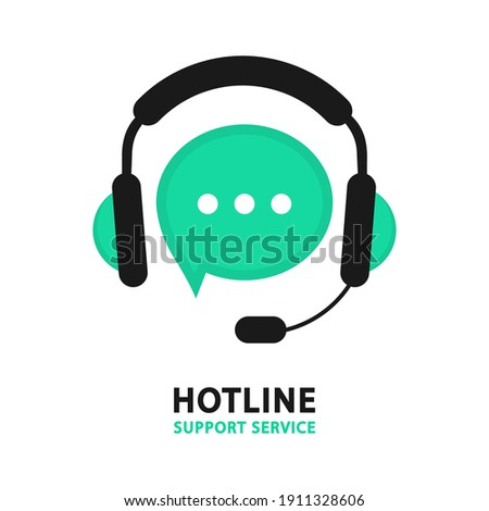 Hotline support service. Online support service with headphones. Call center 24-7 Consultation concept, e-commerce, live marketing, all day hotline. Tech support. Support service for user consultation
