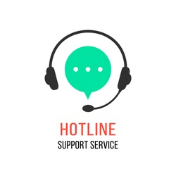 hotline support service with headphones. concept of consultation, telemarketing, consultant, secretary. isolated on white background. flat style modern brand design vector illustration