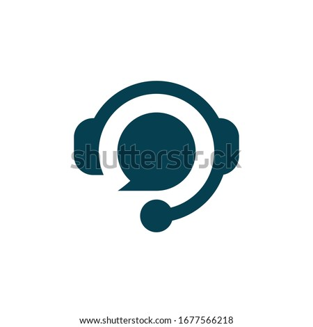 Hotline support service with headphones. Concept of consultation, telemarketing, consultant, secretary. Isolated on white background.